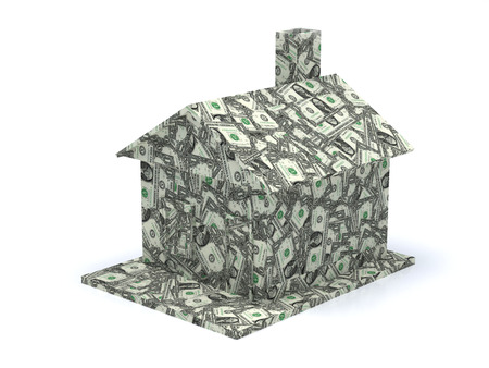 in escrow: dollar house isolated on a white background Stock Photo
