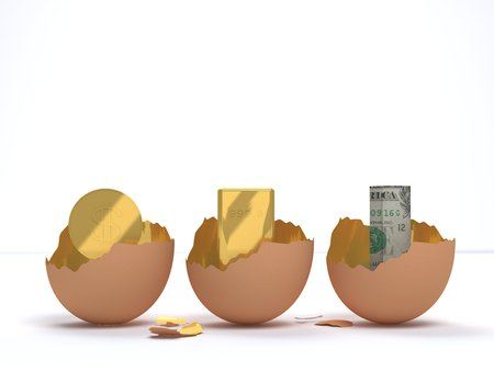 emerged: Coins, gold, and dollar emerged from the egg cracked
