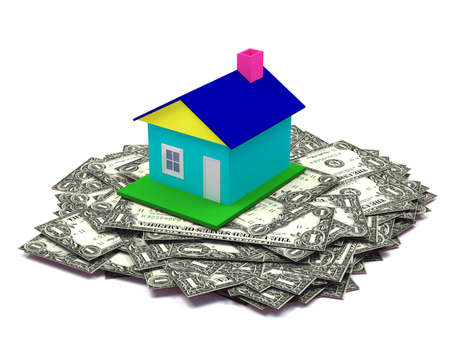 dollar house isolated on a white background photo