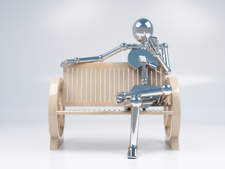 relent: metal chrome robotic holding mobile phone in hand and sitting on the wood bench on white background Stock Photo