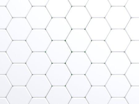 白い色のトーンの六角形のタイル