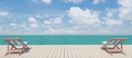 panoramic beach: Panoramic view of two chairs  on the wood pier on the shore near the sea  Stock Photo