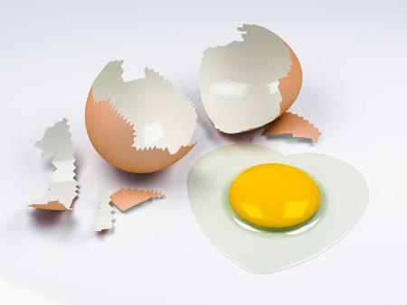 egg cracked with heart shape albumen  photo