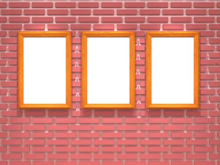 blank frame on brick wall  photo