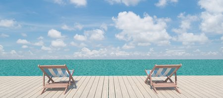 Panoramic view of two chairs on the wood pier on the shore near the sea photo