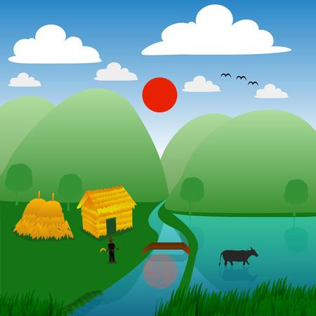 chaume: agriculteur vivant dans le style campagne