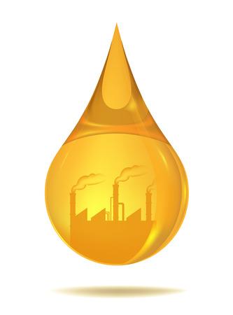 industrial factory in oil drop Vector