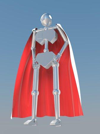 robot with shield: hero metal chrome robot Stock Photo