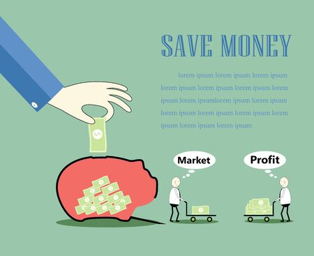 grow money: saving money with a businessman  that takes care of the money to grow more