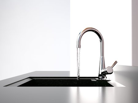 whiteness: water flows from the tap to sink