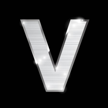 chrome: metal chrome alphabet on black Illustration