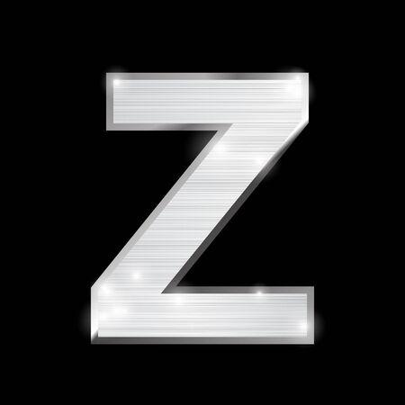 chrome alphabet: metal chrome alphabet on black Illustration