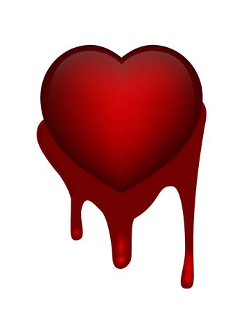 donation drive: Vector illustration of heart on grunge blood on white