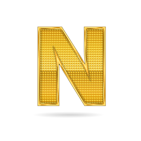 shiny gold: letter N in gold metal   isolated  on white  background
