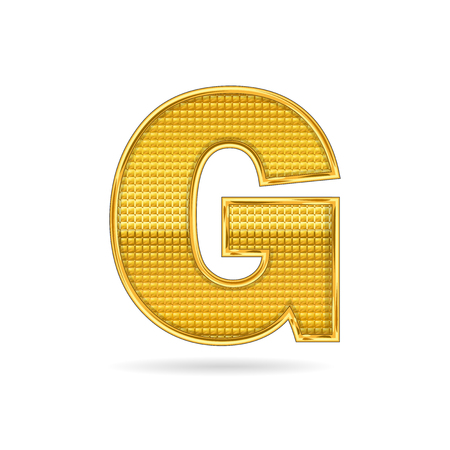letter G  gold metal isolated on white background