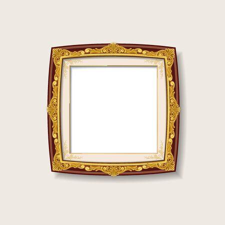 gold: vintage gold picture frame Illustration