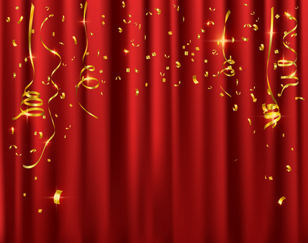 Gold confetti celebration on red curtain