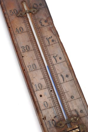 celcius: old thermometer detail at white