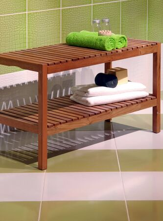 bathroom furniture on the  tiles          photo