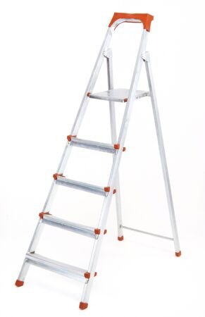 metal ladder isolated at white