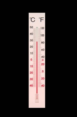 celcius: white thermometer isolated at black background Stock Photo