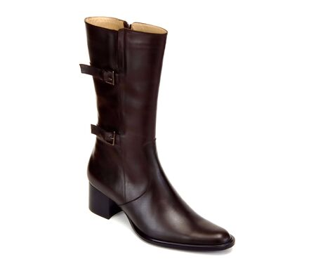 leather woman: black leather woman boot isolated at white