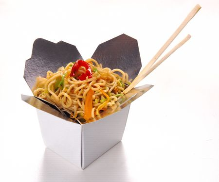 FOOD BOX: chinese noodle food isolated at white background Stock Photo