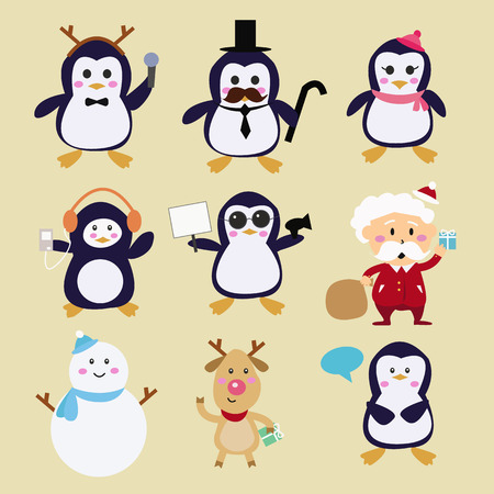 Happy  penguins families and friends Vector
