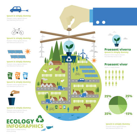recycling plant: Ecology infographic