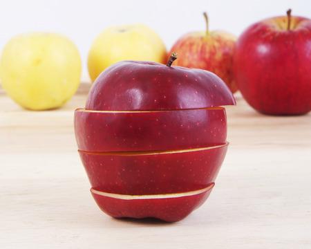 sliced apple: Sliced apple on wood table