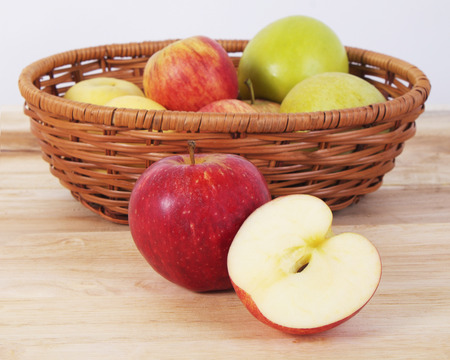 wood table: apples on the wood table Stock Photo