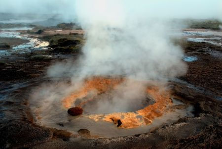 melts: Active geysir on Iceland