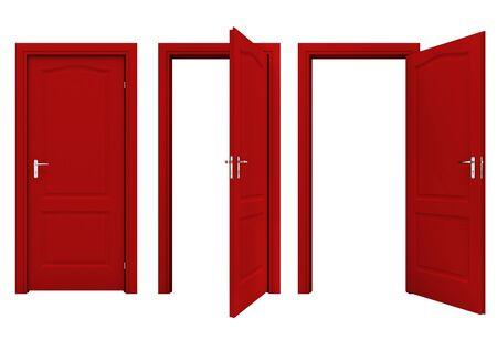 door knobs: Open red door Stock Photo