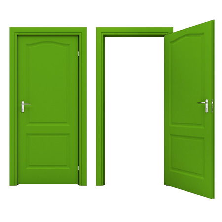 Open green door photo