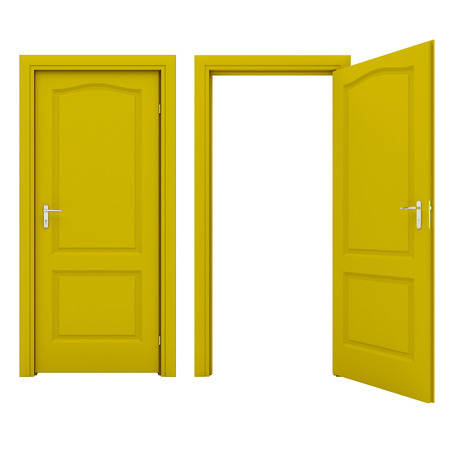 empty keyhole: Open yellow door Stock Photo