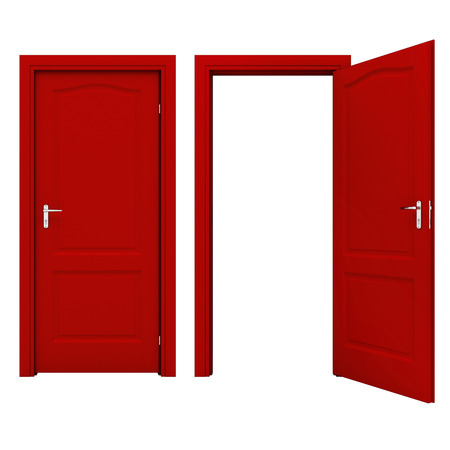 empty keyhole: Open red door Stock Photo