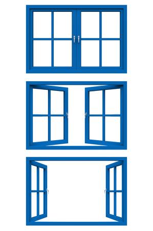 blue window frame photo