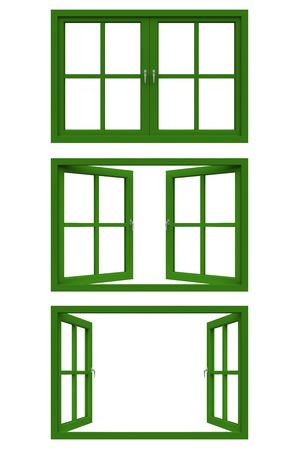 짙은 녹색 창 프레임