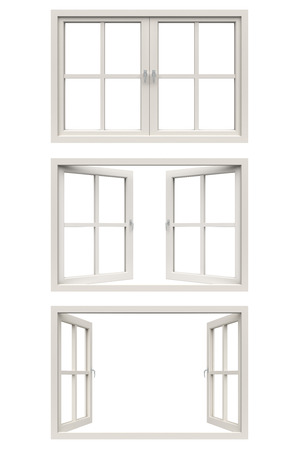 open windows: white window frame Stock Photo