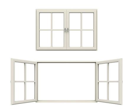 ventana abierta: ventana de marco blanco
