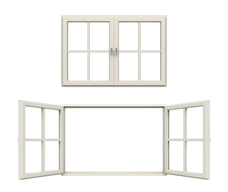 pvc: white window frame Stock Photo