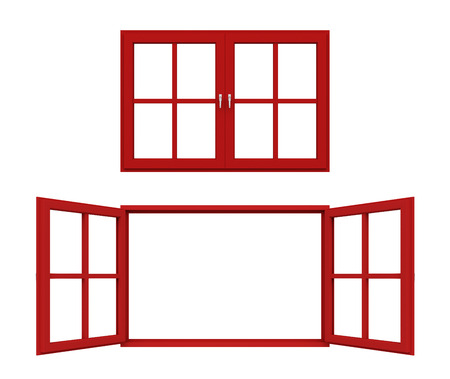 red window frame