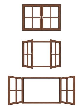 open window: wooden window frame.