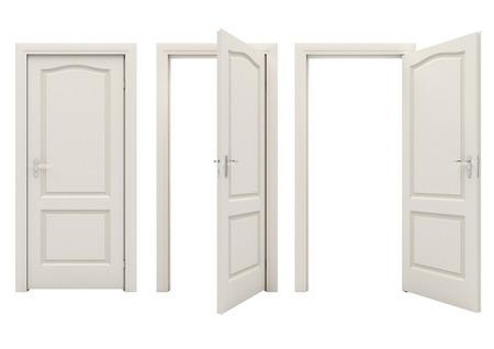 wood door: Ouvrir la porte blanche isol� sur un fond blanc