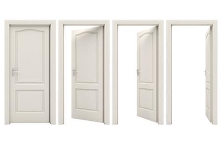 Open white door Standard-Bild