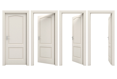 open houses: Open white door Stock Photo