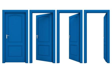 白い背景に分離された青いドアを開く