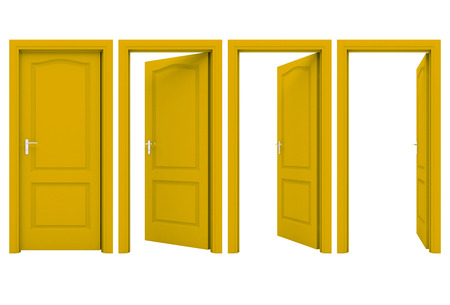 Open yellow door isolated on a white background