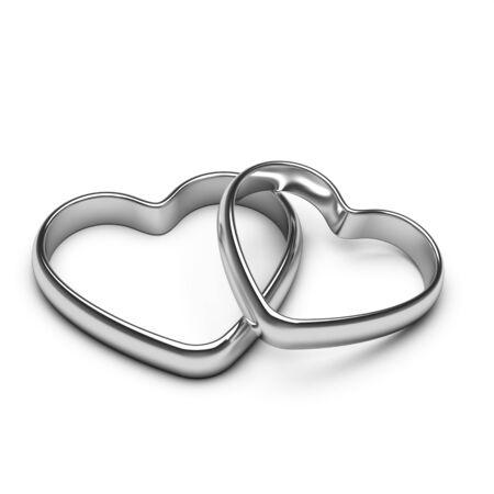 anillos boda: anillos de plata del corazón Foto de archivo