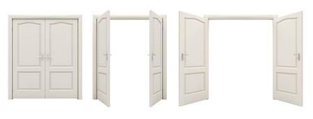 Aprire bianco doppia porta isolato su uno sfondo bianco.
